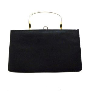 VTG 50s 60s Black Silk Minimalist Structured Bag